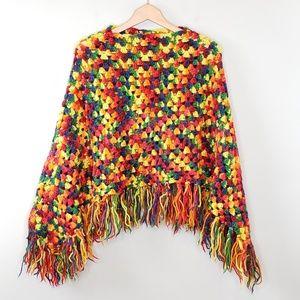 Vintage Handmade Rainbow Crochet Fringe Poncho